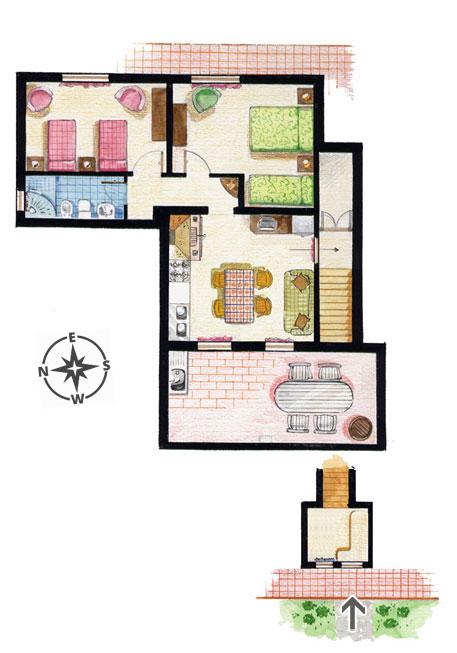 appartement in der toskana fuer familie mit zwei oder drei kinder zwei grosse schlafzimmer und. Black Bedroom Furniture Sets. Home Design Ideas